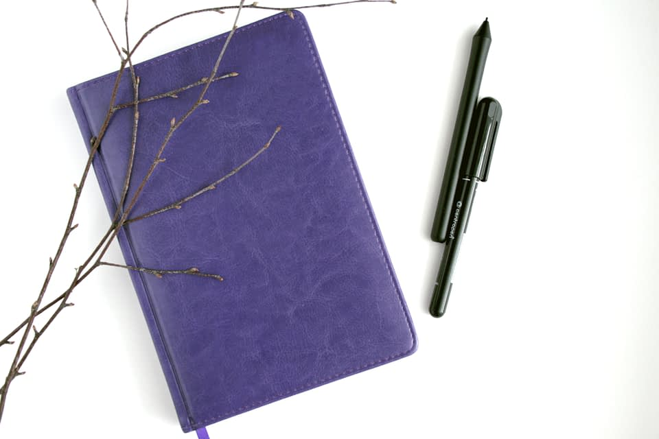 purple notebook with black pen and brown branches